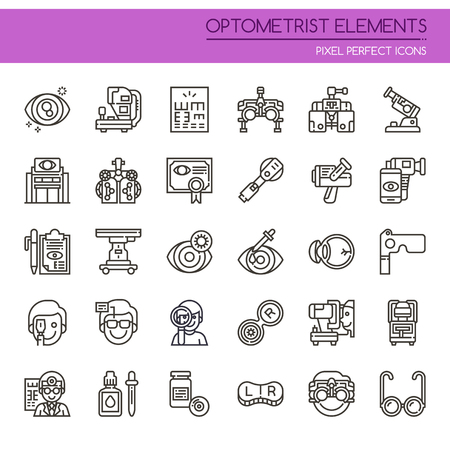 Optometrist Elements , Thin Line and Pixel Perfect Icons