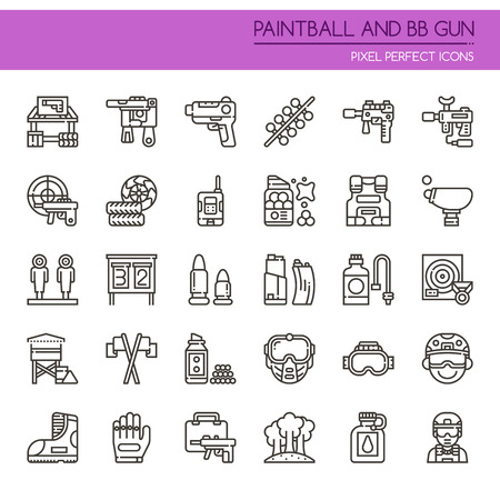 Paintball and BB Gun Equipments , Thin Line and Pixel Perfect Icons Illustration