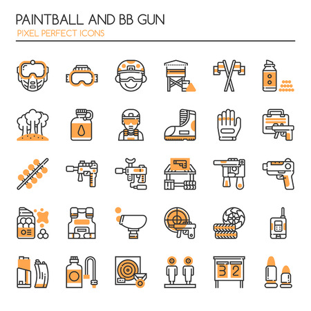 Paintball and BB Gun Equipments , Thin Line and Pixel Perfect Icons Иллюстрация