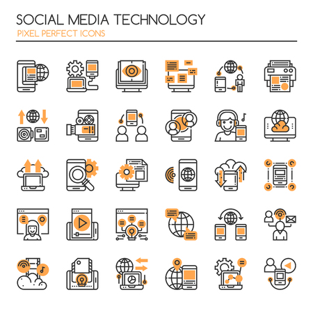 marketing online: Social Media Technology , Thin Line and Pixel Perfect Icons