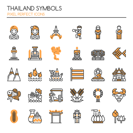 loy: Thailand Symbols , Thin Line and Pixel Perfect Icons. Illustration