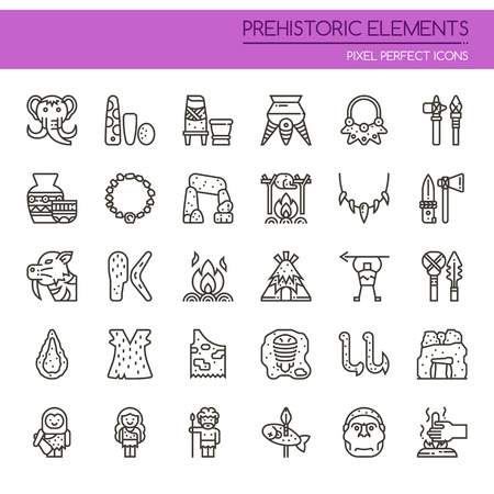 Prehistoric Elements , Thin Line and Pixel Perfect Icons. Illustration