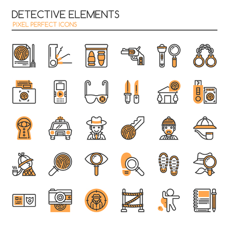 Detective Elements , Thin Line and Pixel Perfect Icons.