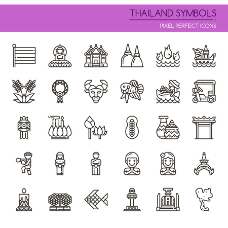Thailand Symbols , Thin Line and Pixel Perfect Icons. Illustration