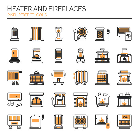 Heater and Fireplaces, Thin Line and Pixel Perfect Icons