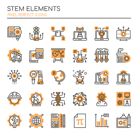 STEM Elements, Thin Line and Pixel Perfect Icons