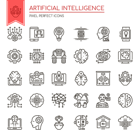 Artificial Intelligence , Thin Line and Pixel Perfect Icons