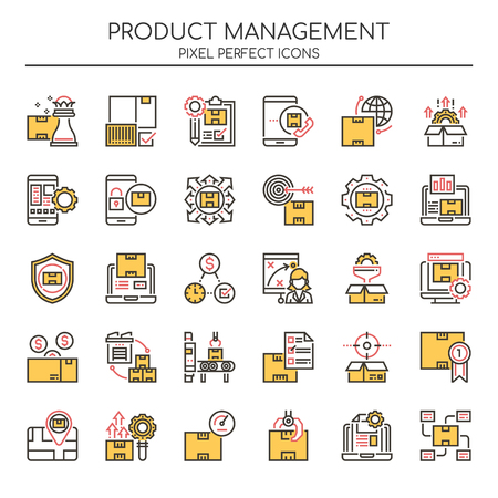 Product Management , Thin Line and Pixel Perfect Icons Ilustração