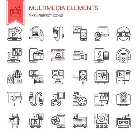 Multimedia Elements , Thin Line and Pixel Perfect Icons Reklamní fotografie - 93126918