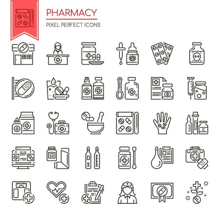 Pharmacy Elements , Thin Line and Pixel Perfect Icons  イラスト・ベクター素材