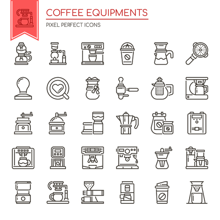 Coffee Equipments , Thin Line and Pixel Perfect Icons