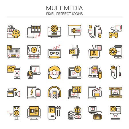 Multimedia Elements , Thin Line and Pixel Perfect Icons