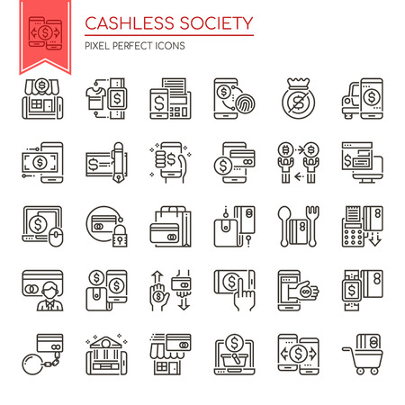 Cashless Society , Thin Line and Pixel Perfect Icons