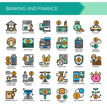 Banking and Finance, Thin Line and Pixel Perfect Icons. Stock Illustratie