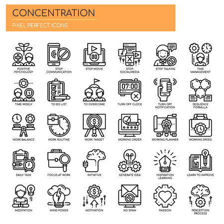 Concentration , Thin Line and Pixel Perfect Icons. Çizim