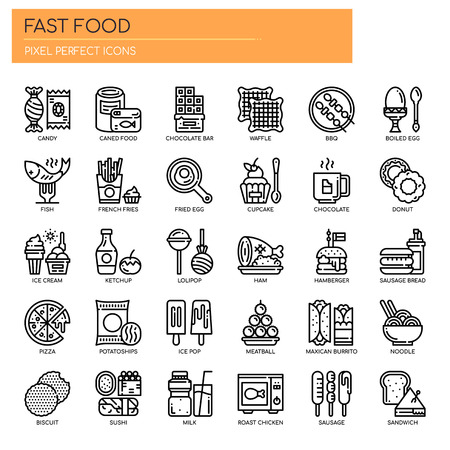 Fast food Elements , Thin Line and Pixel Perfect Icons