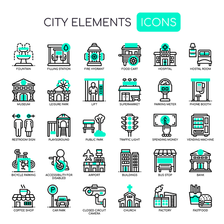 City Elements , Thin Line and Pixel Perfect Icons Illustration
