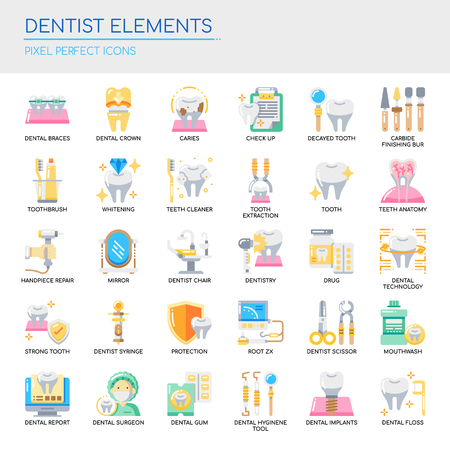 Dentist Elements  Thin Line and Pixel Perfect Icons Vector illustration. Vettoriali