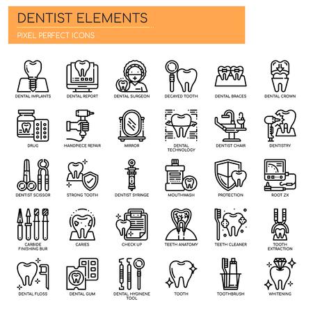 dentiste éléments thin line et pixel perfect icons vector illustration