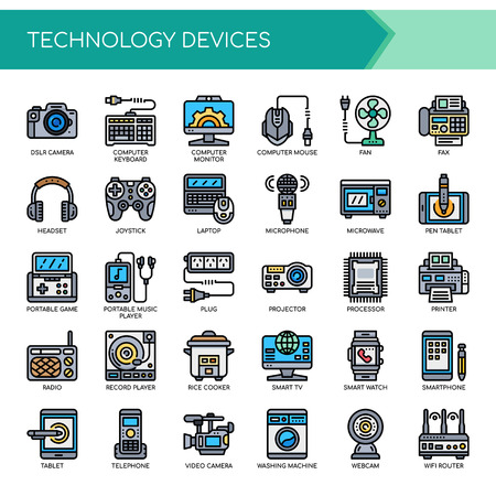 Technology Devices   Thin Line and Pixel Perfect Icons Vector illustration.