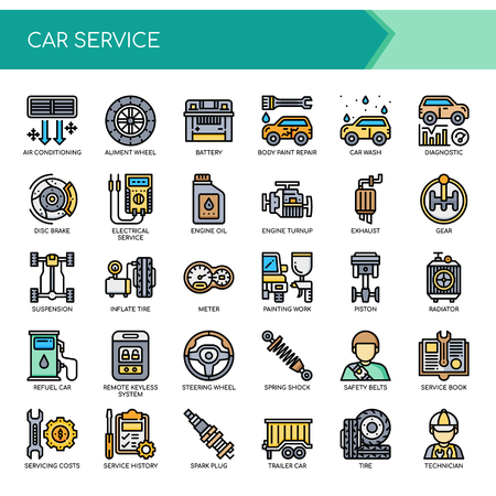 Car Service  Thin Line and Pixel Perfect Icons Vector illustration.