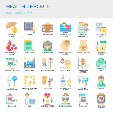 Health Checkup   Thin Line and Pixel Perfect Icons Vector illustration.