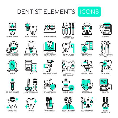 Illustrazione di vettore delle icone perfette di Elements Thin Line e del pixel del dentista. Vettoriali