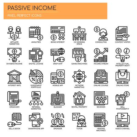 Iconos de ingresos pasivos, líneas finas y píxeles perfectos Ilustración de vector