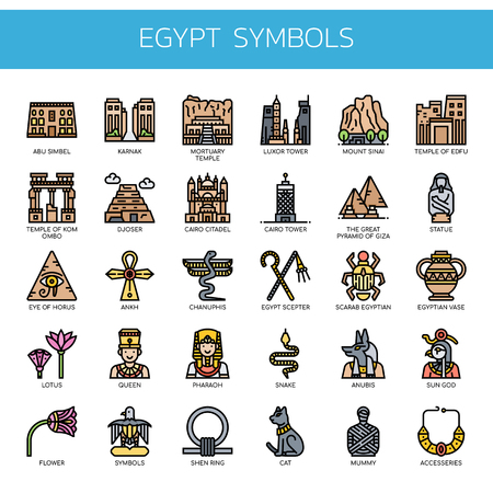 Egypt Symbols , Thin Line and Pixel Perfect Icons