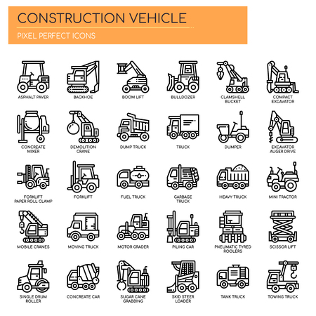 Construction Vehicle , Thin Line and Pixel Perfect Icons Stock Vector - 112378703