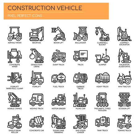 Iconos de vehículos de construcción, líneas finas y píxeles perfectos