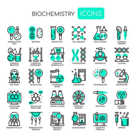 Biochemistry Elements , Thin Line and Pixel Perfect Icons
