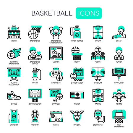 Basketball Elements , Thin Line and Pixel Perfect Icons Иллюстрация