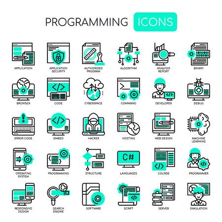 Programmation, Thin Line et Pixel Perfect Icons Vecteurs
