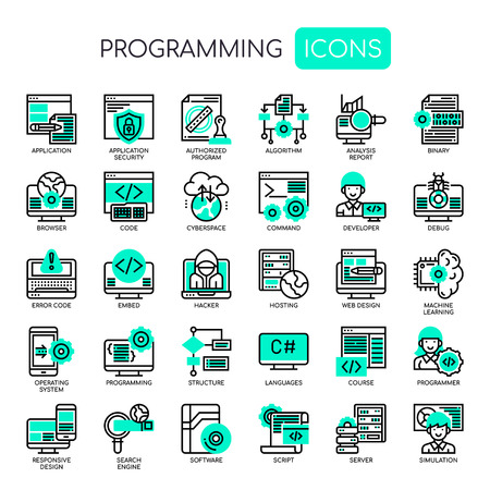 Programming , Thin Line and Pixel Perfect Icons Vektorové ilustrace
