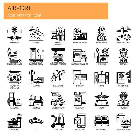 Flughafenelemente, Thin Line und Pixel Perfect Icons