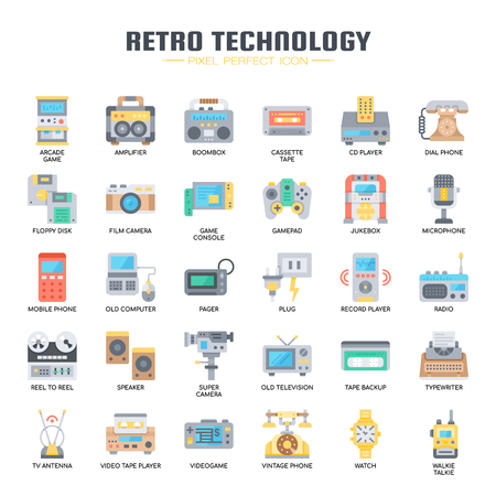 Retro Technology , Thin Line and Pixel Perfect Icons Illustration