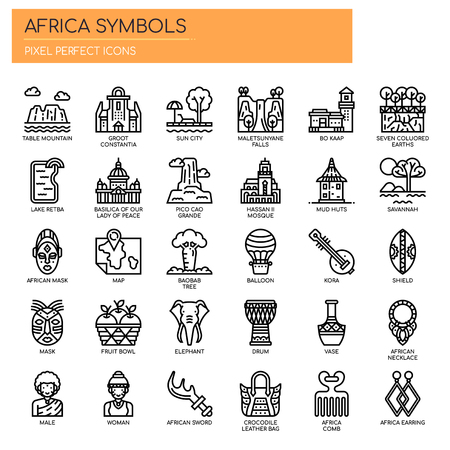 Africa Elements , Thin Line and Pixel Perfect Icons Illustration
