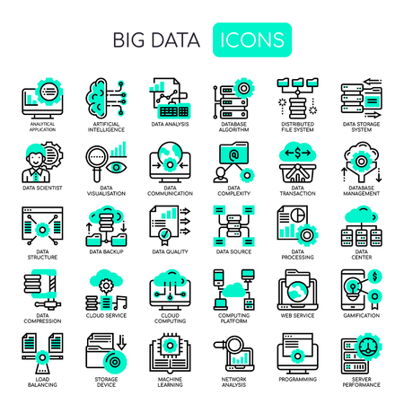 Big Data , Thin Line and Pixel Perfect Icons Ilustracja