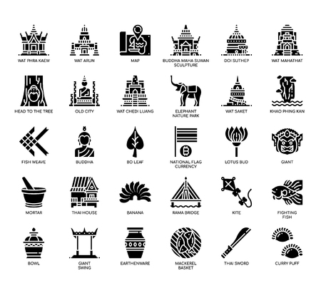 Thailand Symbols , Glyph Icons Illustration