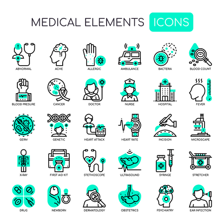 Medical Elements , Thin Line and Pixel Perfect Icons Illustration
