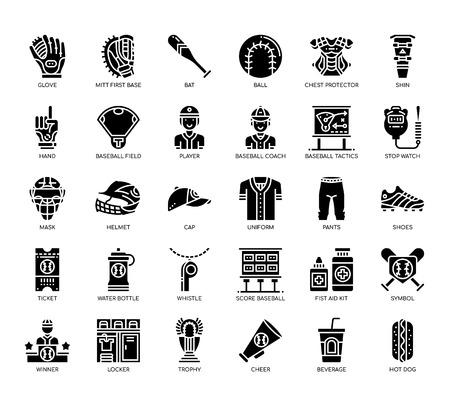 Baseball Elements , Glyph Icons Foto de archivo - 112378724