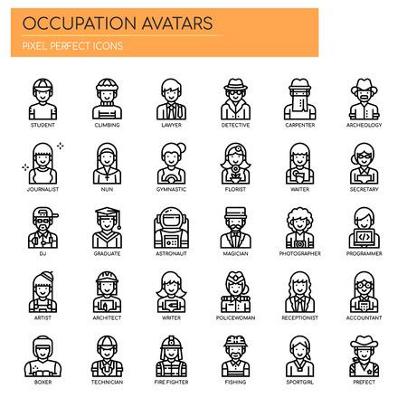 Avatares de ocupación, iconos de líneas finas y píxeles perfectos Ilustración de vector