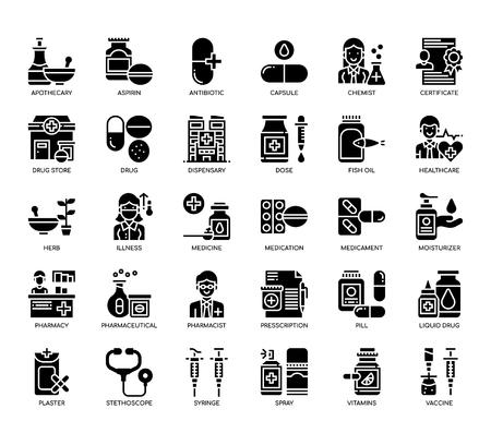 Pharmacy Elements , Glyph Icons