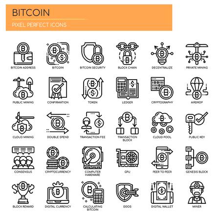 Elementy Bitcoin, cienka linia i ikony Pixel Perfect