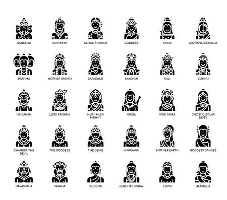 Hindu Gods , Glyph Icons Illustration