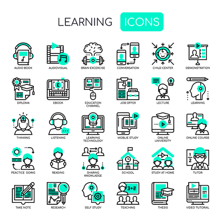 Learning Elements, Thin Line and Pixel Perfect Icons Illustration