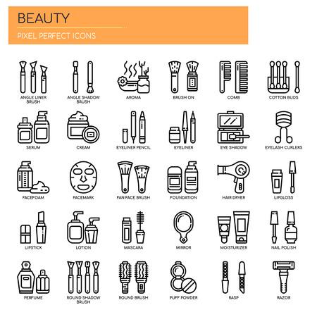Schönheit, dünne Linie und pixelperfekte Symbole
