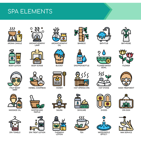 Spa Elements , Thin Line and Pixel Perfect Icons
