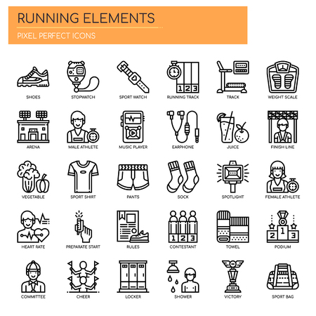 Running Elements , Thin Line and Pixel Perfect Icons